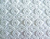 Hofmann Supertuft White Tumbling Block Plus Vintage Cotton Chenille Bedspread Fabric 12 x 24 Inches