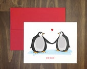 romantic card / we be chillin / icy penguin couple / animal + penguin lover / antarctica / blank inside / happy feet / hand illustrated