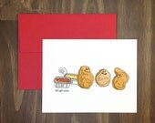 naughty valentines card / chicken nuggets / get saucy / weird fast food / mcdonalds / threesome / silly for friend / blank / hand drawn