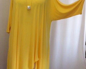 Coco and Juan Lagenlook Plus Size Asymmetric Tunic Top Lemon Yellow Traveler Knit Size 2 (fits 3X,4X)  Bust 60 inches