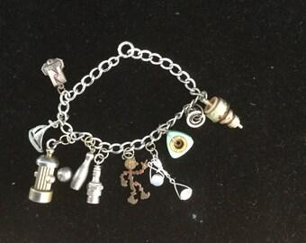 Vintage Sterling Silver Charms Bracelet 1940's Enamel Reddy Kilowat