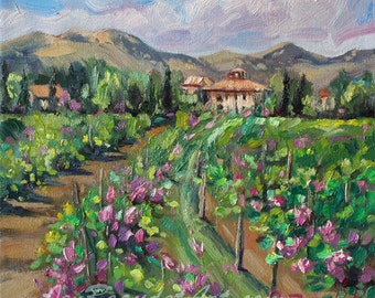 Giclee Print of California Winery Landscape painting by J Beaudet  12x12 inch