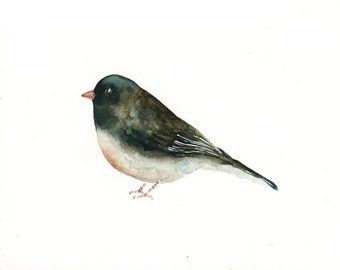 BLACK EYED JUNCO Original watercolor painting 10x8inch