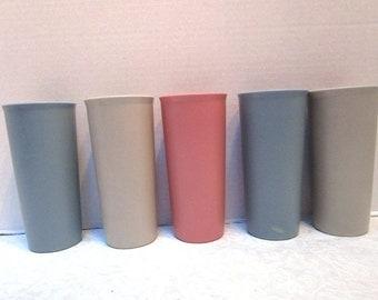 5 Vintage Tupperware Tumblers, Durable Drinking Glasses, Shabby Cottage Chic, Retro, Pastel Plastic Unbreakable, Blue Mauve Beige, Kids