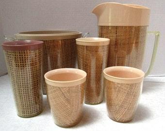 7 Piece Set Vintage Raffia / Burlap Insulated Pitcher, Tumblers 2 tall/ 2 short, Ice Bucket, Midcentury Summer Classic, Lucite Plastic