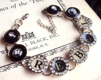 Vintage Style Rebel Typewriter Key Link Bracelet Glass Resin Rhinestone Chain Vintage Buttons