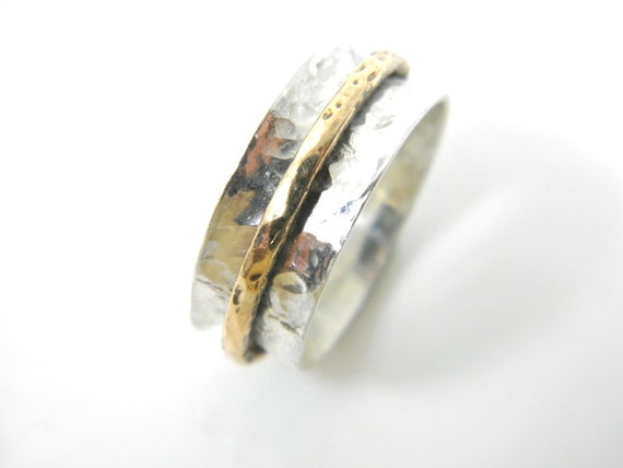 gold silver spinner ring worry ring motion ring hammered