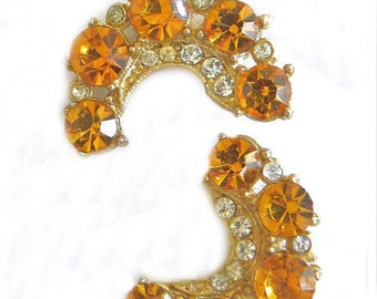 Vintage Designer Signed Rhinestone Earrings, Coro Earrings, Coro Jewelry, Amber Rhinestones, 1950 Dressy Costume Jewelry