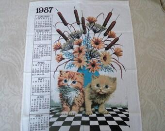 Vintage 1987 Kitty Calendar Tea Towel Kay Dee Design