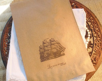 Nautical Ship Favor Bags Let Your Dreams Set Sail Perfect for Graduation Gifts Set of 8