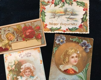 4 Victorian Vintage Christmas Cards