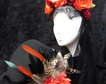 Day of the Dead Headdress and Top Hat Set in Various Shades of Orange