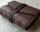 "Pocket Journal 3""x 4"", chocolate brown, handmade leather journal by Dancing Grey Studio(1534)"