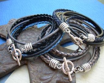 Four Strand Double Wrap Mens Leather Bracelet, Mens Bracelet, Mens Jewelry, Mens Gift, Fathers Day, Groomsmen, Wrap Bracelet,Groom