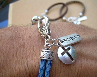 Cross Bracelet, Leather Charms Bracelet with Cross and Protected Charms, Cross, Womens Bracelet,Religious Gift, Mens Jewelry, Womens Jewelry