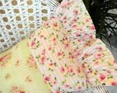 Summer Shabby Chic pillow pink roses stripes ruffles pretty greens