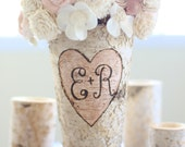 Personalized Birch Vase Rustic Custom Wedding Bridal Shower Christmas Gift Wedding Party Bridesmaids (NVMHDA1129)