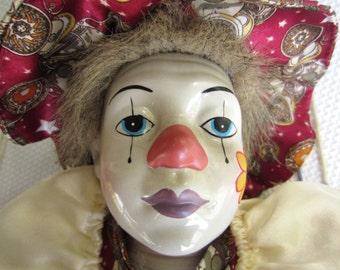 Vintage Clown on a Swing Porcelain Face Cloth Body