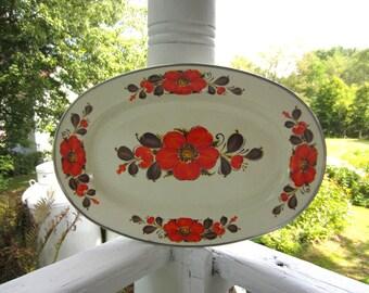 Vintage Orange Poppy Enamel Ware Platter Show Pans Sanko Ware Japan