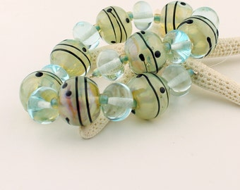 Lampwork Glass Bead Set,  SRA,  Iridescent Green, Blue