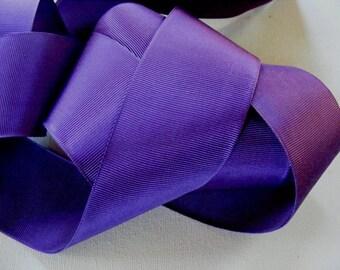 Vintage 1930's French Grosgrain Ribbon 2 1/16 Inch African Violet