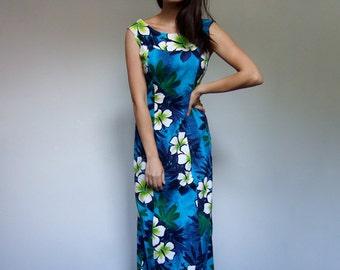 Vintage Hawaiian Dress 70s Blue Long Floral Print Cotton Maxi Summer Dress Sundress Women - Medium M