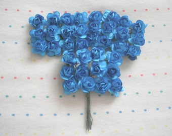 """Turquoise Paper Millinery Flowers, Small Sized Roses, 3/4"""" (36)"""