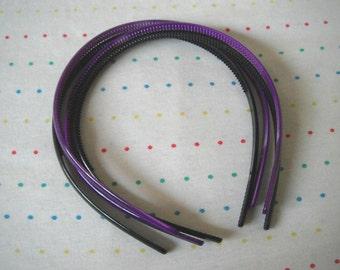Grape Purple and Black Plastic Headbands, 8 mm Wide (4)