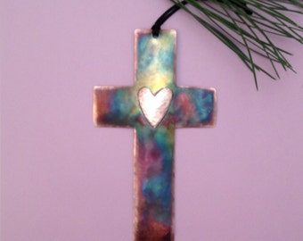 Handcrafted Copper Cross with Heart Ornament