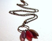 Vintage Glass Bead Dangles Necklace in Antique Brass
