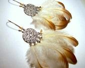 Silver Dream Catcher Feather Earrings
