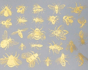 Vintage Bees Ceramic Decals, Glass Fusing Decals, Waterslide Decals, Ceramic Transfers