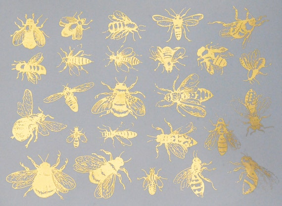 Vintage Bees Ceramic Decals Glass Fusing Waterslide