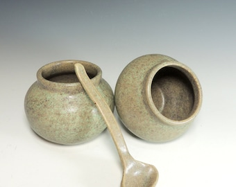 Salt Cellar Set with Spoon in Granite Green Glaze / Kitchen Food Prep / Handmade Pottery in Stoneware Clay