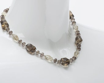 Smoky Lemon Quartz with Sterling Silver Beaded Necklace