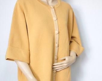 Vintage Cardigan Sweater Mustard Yellow Sweater Jacket Evie Slouchy Full Sweater Coat Size Large
