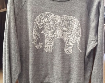 "Painted ELEPHANT Paisley Henna Art Print Ladies Slouchy ""Sweatshirt"" T shirt American Made   S M or L"