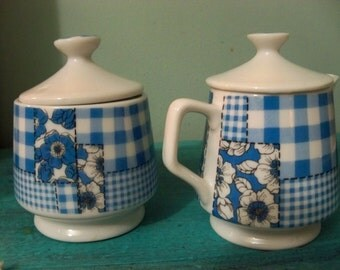 blue and white gingham  cream and sugar