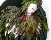 Bird wall hanging, hand made, leather, OOAK, textile sculpture, Made to Order