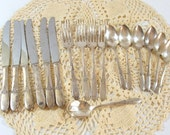 Tudor Plate Silver Plate Flatware, Oneida Community, Fantasy Pattern, 17 Pieces