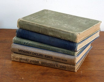 Antique Text Books Reading and English CompositionTexts,  1903 to 1927 Collection of Five