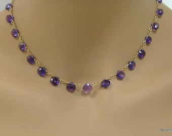 Amethyst Briolette Necklace in Gold