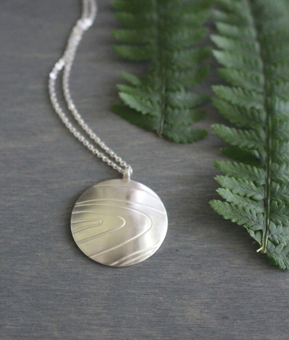 Faux Bois Sterling Silver Pendant Wood Grain Contemporary Woodland Rustic Nature Organic Lines Modern Silver Necklace with Sterling Chain
