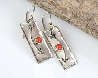 Southwestern Arrow Earrings, Sterling Silver Dangles- Red Coral - Western Jewelry for women, Bohemian earrings