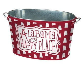 Alabama Is My Happy Place Dark Red & White Beverage Bucket with the State of Alabama