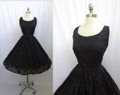 Vintage 1950s Black Chiffon Flocked Roses Glittered Bubble Hem Cocktail Party Dress M