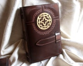 Vintage Style Leather Journal, Chestnut Brown Leather Cover and Old Look Stained Paper - Sign