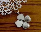 Vintage Sterling Silver Engraved Four Frame Unfolding Heart Locket Necklace
