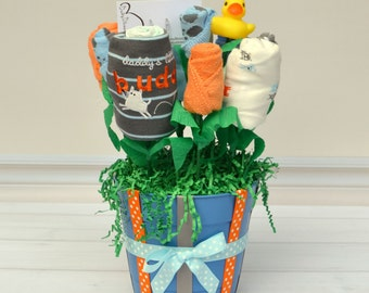 Unique Baby Gift for Baby Boy, Puppy Baby Shower Gift, Baby Boy Gift, Baby Boy Gift Basket Made of Baby Clothes, Bib, Burp Cloth & Socks