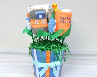 Nautical Baby Shower Gift, Boat Captain Baby Bouquet, Unique Baby Shower Gift, Table Centerpiece, Hospital Gift, Captain Adorable